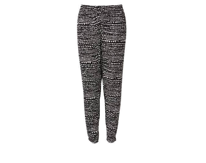 Monochromatic pants  You don't need to wear sweatpants to relax at home. These black and white printed pants from Witchery, $109.90, are comfortable but still dressy enough to entertain in. Available now. For for your nearest Witchery store see here.