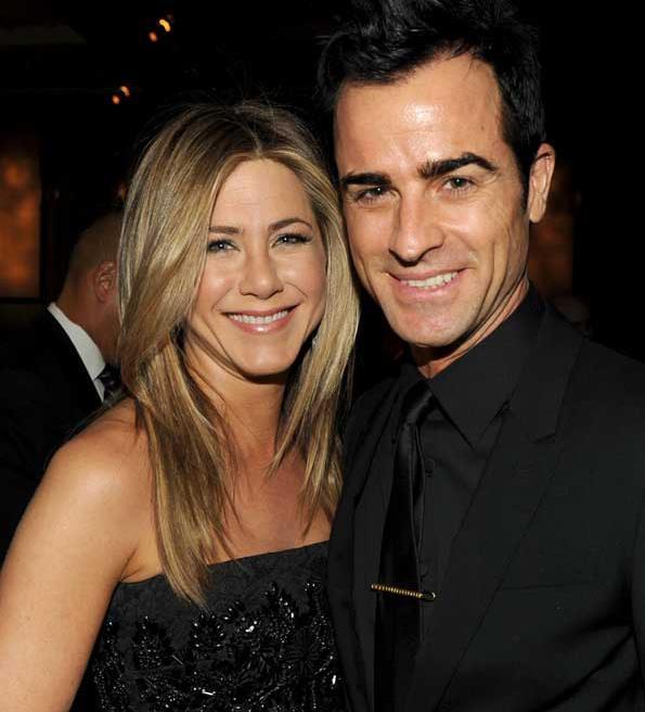Jennifer with fiance Justin Theroux.