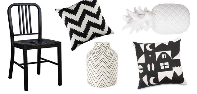 Black and white homeware