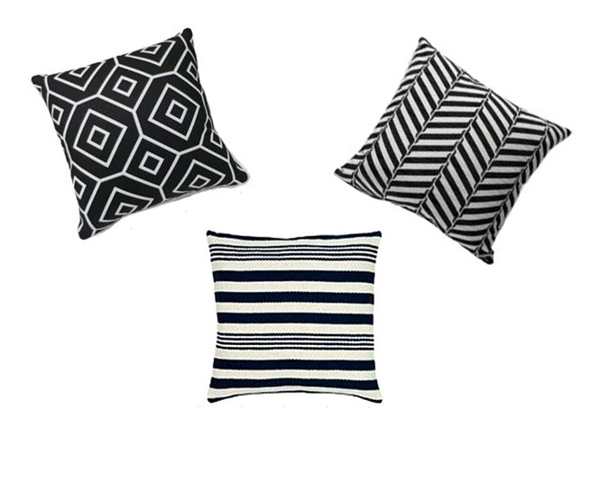 Farmers cushions. From left: Rapee Munich Cushion, $39.99, Rapee Dawn Cushion, $49.99, and Rapee Sapphire Cushion, $39.99.
