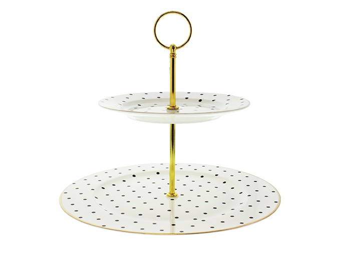 Mighty Ape Decor Two Tier Polka Dot Cake Plate, $44.99.