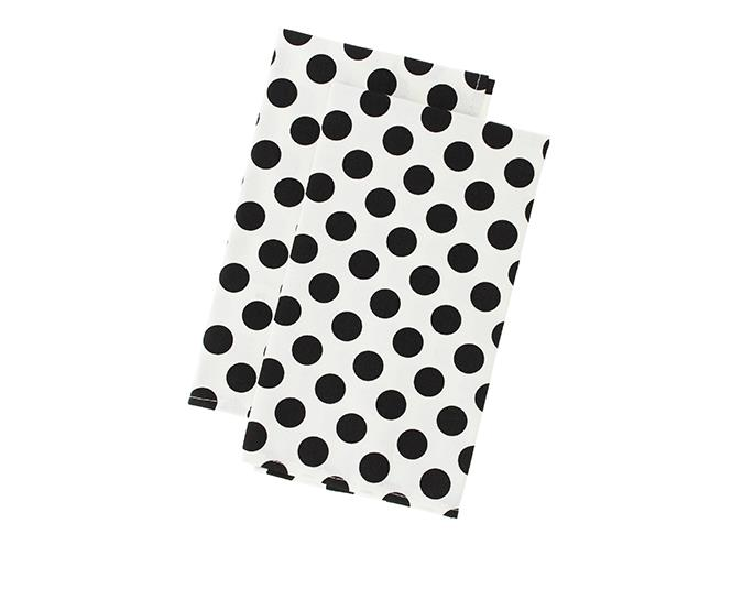 Mighty Ape White and Black Polka Dot Cloth Napkins, $34.99.
