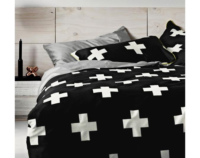 Aura Crosses Black Quilt Cover, King size, from Superette, $249.