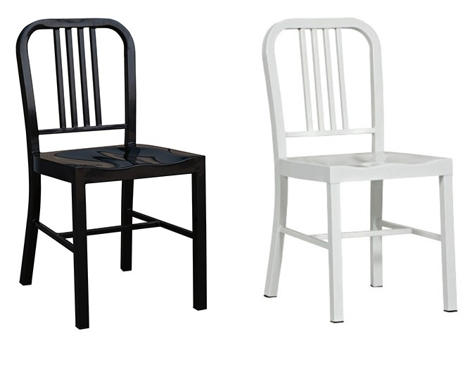 The Warehouse Solano Metal Chairs in black and white, $80 each.