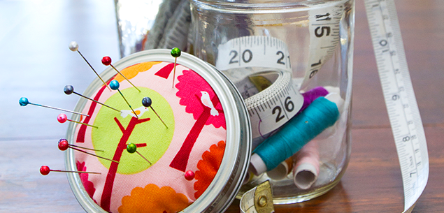 Glass jars with fabric lids