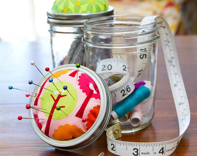 Craft: Sewing jars  Step 5. Press the pincushion firmly back into the outer lid or ring. Fill the jar with the contents of the sewing kit and screw on the pincushion lid.