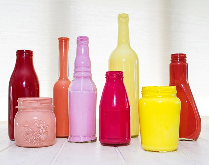 Make your own painted glass vases   The final look!  Handy tip! We used acrylic paint, which means the jar or bottle can't be filled with water (it will wash off). If you want to use it as a vase, use an oil-based paint or put a small plastic tube (from florists) into the container.