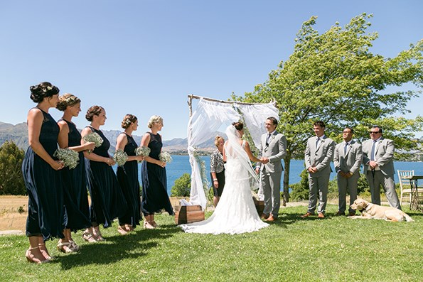 The couple married on a perfect Wanaka day with all their loved ones in attendance – including their   unborn baby and dog Charlie.