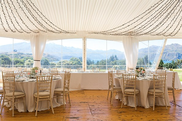 Inside the wedding reception marquee.