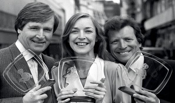 Award winners Bill Roache, Anne and Johnny Briggs in 1984.
