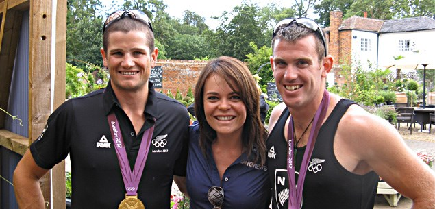 Olympics 2012 - Heather du Plessis-Allan with Winners of the men's double sculls Nathan Cohen and Joseph Sullivan