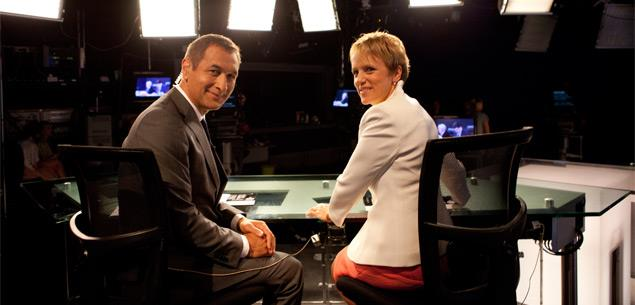 Mike McRoberts and Hilary Barry