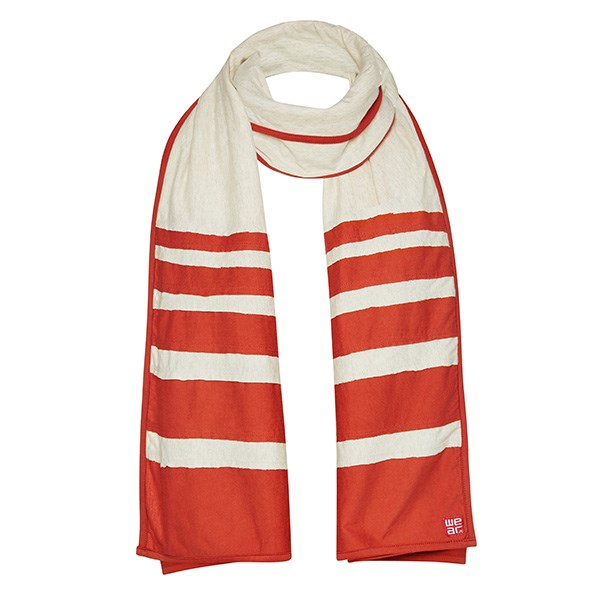 Wrap up warm with this orange and cream bateau scarf, $89, from WE'AR. Pair with jeans and a jacket for a trip to the Farmers Market, or add some colour to your favourite little black dress. See wearyogaclothing.com.