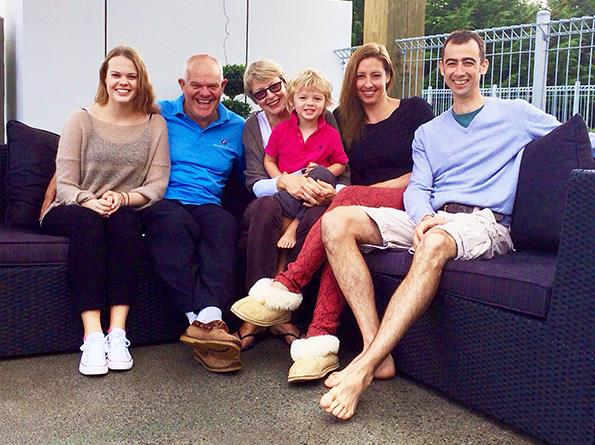 Mark with his family, from left, Olivia, Jane, Campbell, Sarah and Ben.