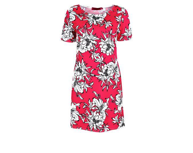 Spring fling  Boohoo magenta print dress, $30.