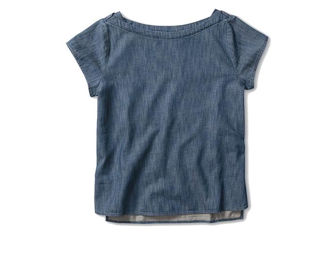 Boat-neck blouse  Levis denim top, $69.90.