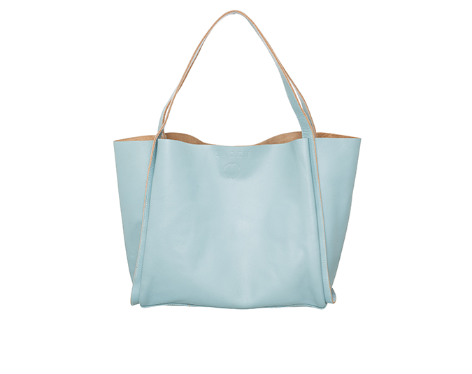 Handy carryall tote  Saben Yasmin Duckegg Blue tote,$420.