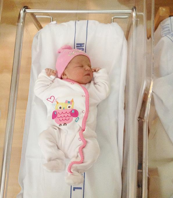 Newborn Charlotte in hospital.