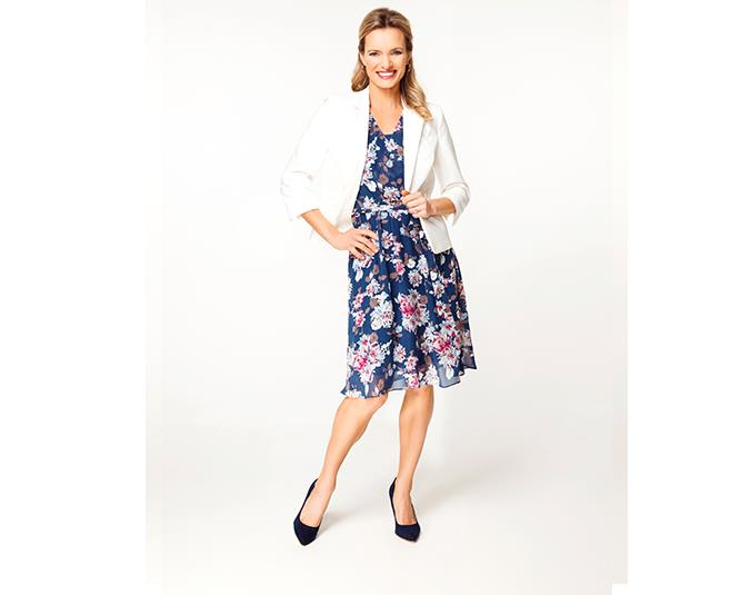How to wear botanical prints  The bold floral print on this dress is a good, strong look. Team it with simple colours to make the pattern pop. A blazer with raglan sleeves looks flattering on women with big busts.  GET THE LOOK: Jacket $179.99 from Jacqui-E. Dress $79.99 from Ezibuy. Earrings $17.99 (pack of six) from Number One Shoes.