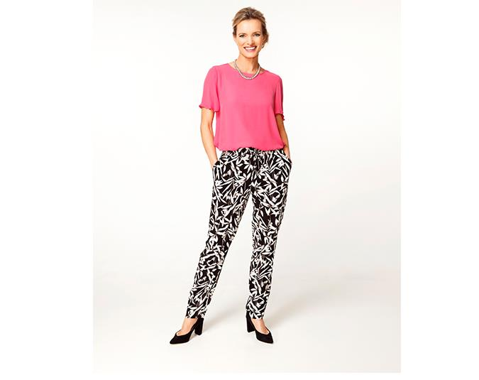 How to wear botanical prints  Black and white patterned pants are an essential item for your warmer weather wardrobe. Strong graphic prints are everywhere and they look perfect with a bold block-coloured top. Printed elastic waist pants can easily look too casual, so pair them with heels to ensure they won't be mistaken for pyjama pants.  GET THE LOOK: Top $54.99 and pants $59.99 both from Ezibuy. Necklace $19.99 from Number One Shoes. Shoes $119.99 from Portmans.