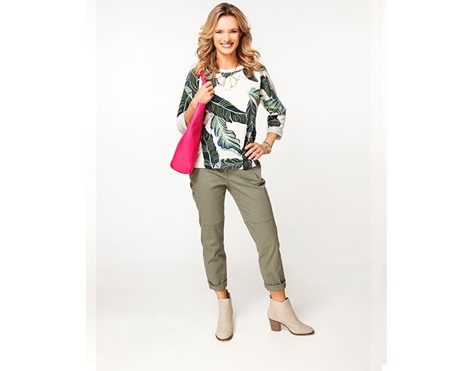 How to wear botanical prints  You cannot help but feel like you're on a sunny holiday when you are wearing banana leaves and palm prints. For fans of the Hawaiian shirt, this is a contemporary take on tropical prints. Match the pretty green shades of this top with khaki pants.  GET THE LOOK: Top $89.90 from Country Road. Pants $49.99 from Ezibuy. Necklace $29.99 from Just Jeans. Bracelet $34.99 from Portmans. Bag $19 from The Warehouse.