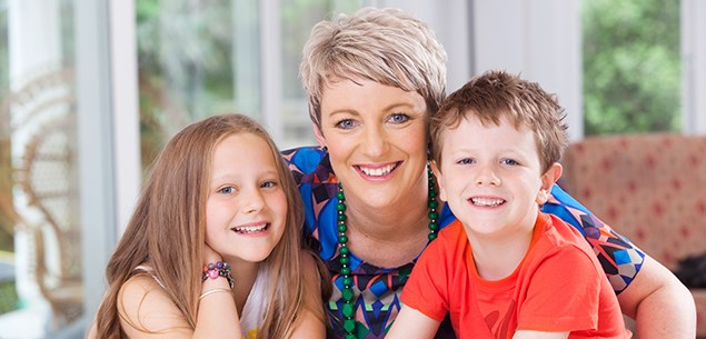 Lisa Oneill with her kids