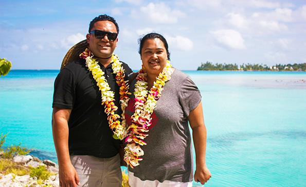 Shehana and husband Ben in the Cook Islands.