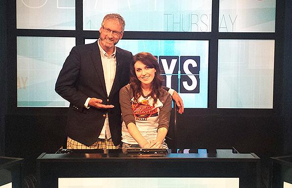 Melanie with 7 Days host Jeremy Corbett.