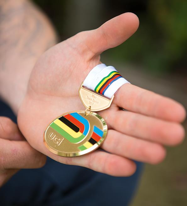Eddie with his gold medal from the Glasgow Commonwealth Games.