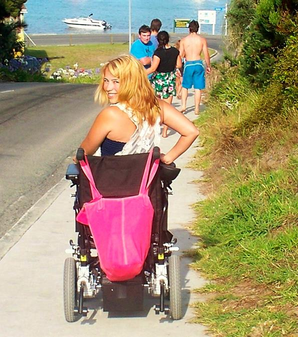On the long road to recovery: Heading to the beach.