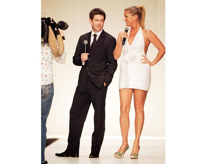 John interviewed Rachel Hunter during a fashion show for the Kiwi model's swimwear line.
