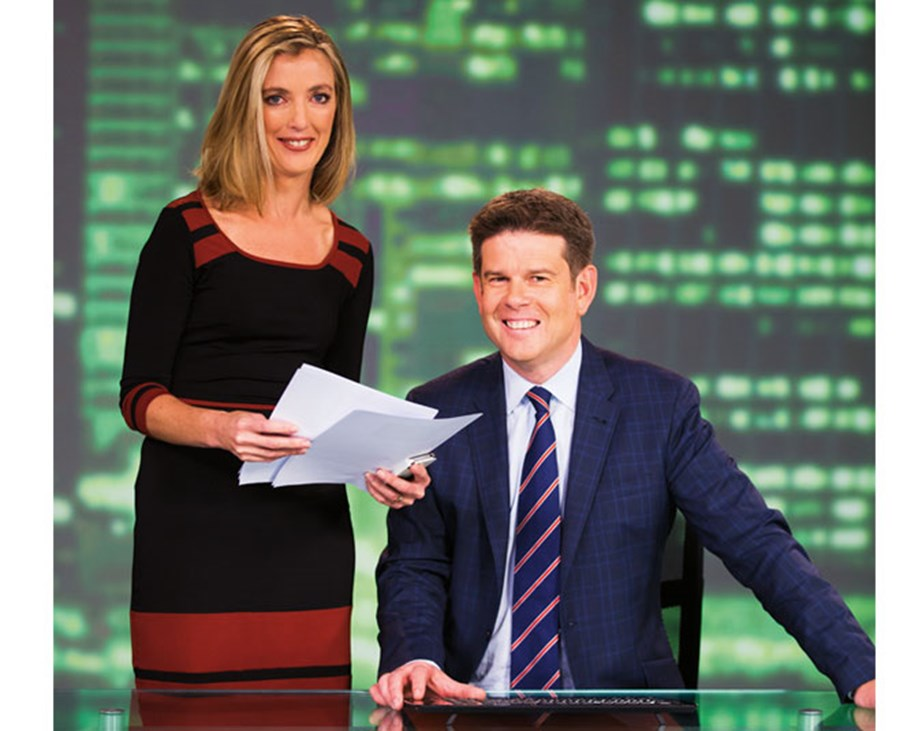John Campbell on the set of *Campbell Live* with producer Pip Keane