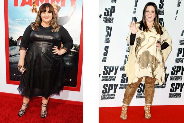 Pictured on the red carpet for her movie Tammy (left), Melissa was widely criticised for the way she looked. A year later (right), Melissa debuted her 23kg weight loss on the red carpet in Berlin for new movie Spy.