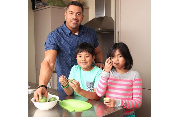 Eating the right type of food with his children Ryder and Maia, two of his biggest supporters.