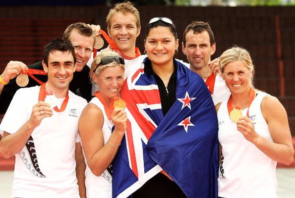 Celebrating with fellow Olympic medal winners in Beijing in 2008 (from left): Hayden Roulston, Mahe Drysdale, Georgina Evers-Swindell, Valerie Adams, Nathan Twaddle and Caroline Evers-Swindell.