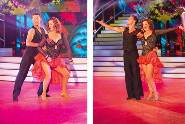 Pam and her partner on *Dancing with the Stars*, raising money for Higher Ground Drug Rehabilitation Trust.