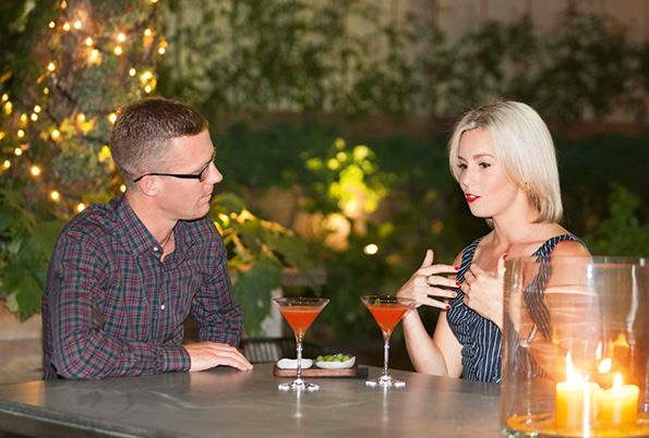 The couple got to know each other over The French Café's lavish dégustation menu and a few cocktails.