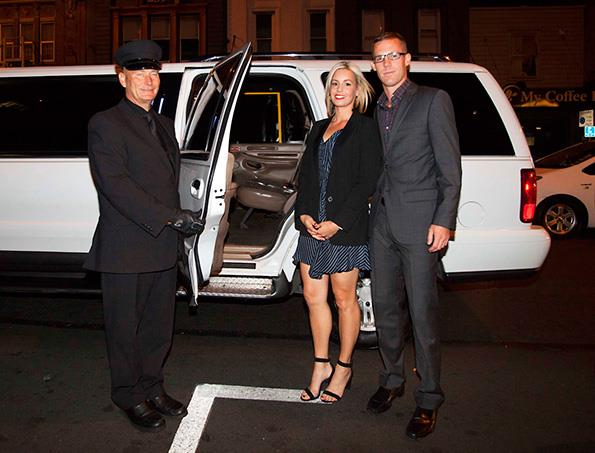 Tim and Natasha were picked up by a limousine.