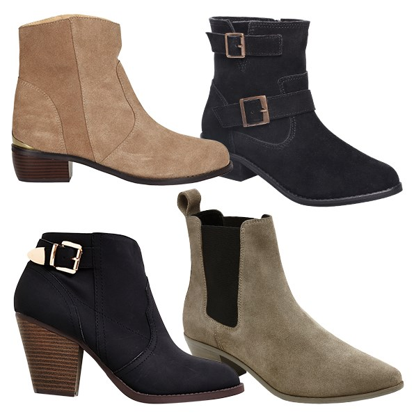 My favourite ankle boot look is with cropped  pants. It is a bit of fun and very now. Clockwise from top left: $149.99 from Farmers. $99.99 from Number One Shoes. $169.90 from Witchery. $35 from Kmart.