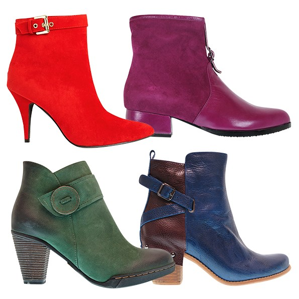 Keep your feet fashionable with a pop of colour! Rather than playing safe with black or tan, try buying boots in your favourite hues. You'll never want  to take them off! Clockwise from top left: $35 from The Warehouse. $275 from  Minx. $275 from Minx. $250 from Minx.