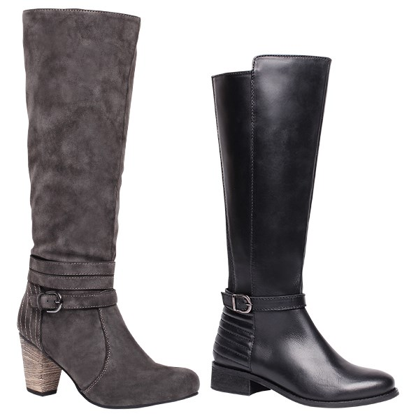 Knee-high boots lengthen your legs  and keep you warm. But be careful that they do not finish at a wide part of the calf muscle – they can make your legs look bigger than they are. From left: $59.99 from Number One Shoes. $169.99 from Number One Shoes.