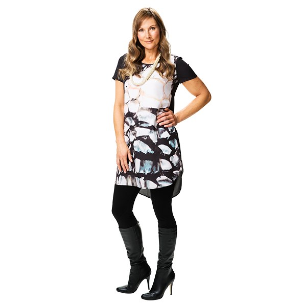 Dress $195 and necklace $25 both from Decjuba. Leggings $139 from Hartleys. Boots $159.90 from Novo.