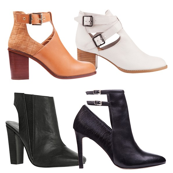 The secret to wearing a shoe boot well is to wear the same colour hosiery. This will stop the ankle looking cut-off  and wide.   Clockwise from top left:  $279.90 from Overland. $239.90 from Overland. $249.90 from Overland. $90 from Ezibuy.