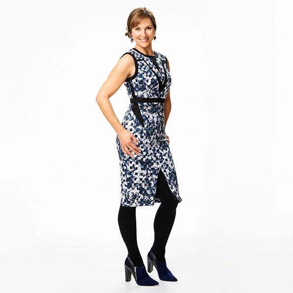 Dress $129.99 from  Portmans. Earrings $29 from Max. Tights $26.99 from Farmers.  Boots $199.95 from Hannahs.