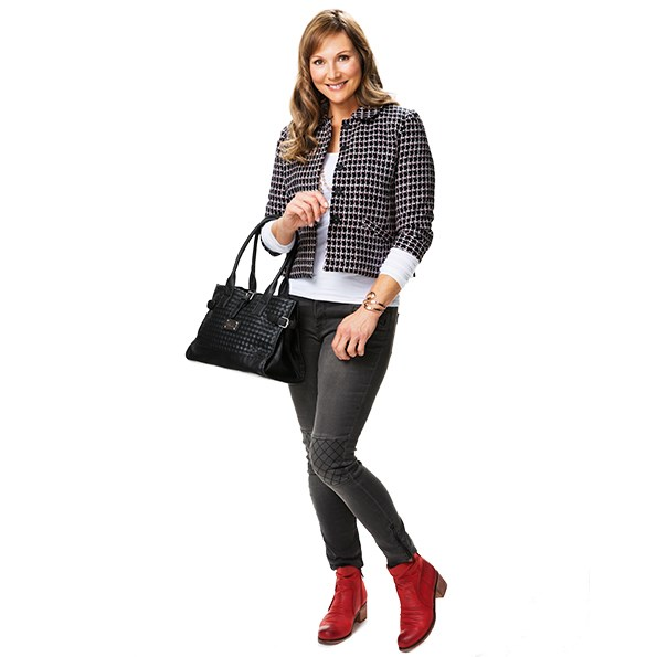 Blazer $179.99 from Jacqui-E. Long-sleeve T-Shirt $29.99 from Dotti. Jeans $155 from Decjuba. Bracelet $35 from Silvermoon. Handbag $49.99 from Postie. Boots $179.95 from Hannahs.