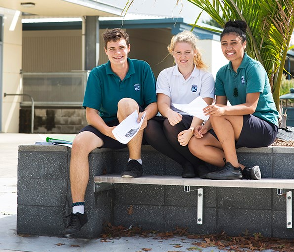 Kerikeri High School students Grayson Javins, Samantha Still and Pele Wharawhara have invented a removable rubber magnet which can be stuck on certain surfaces.