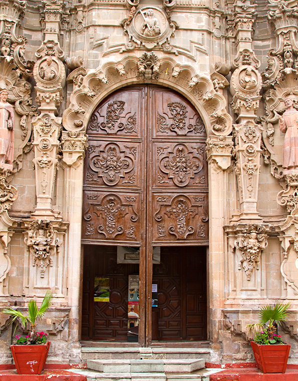 Ornate front on a colonial building.
