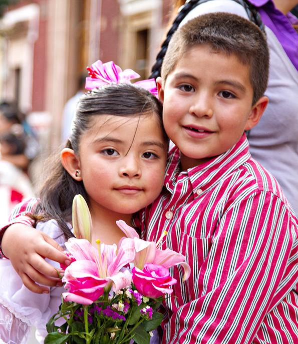 Children returning from church.