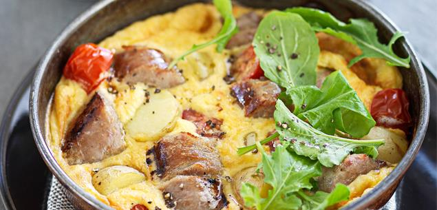 Sausage & potato baked omelette
