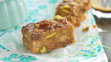 Nutty fudge slice